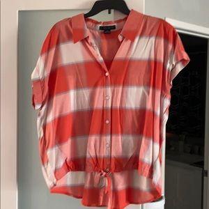 NWOT orange plaid blouse